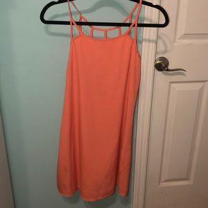 Pink detail caged back sun dress